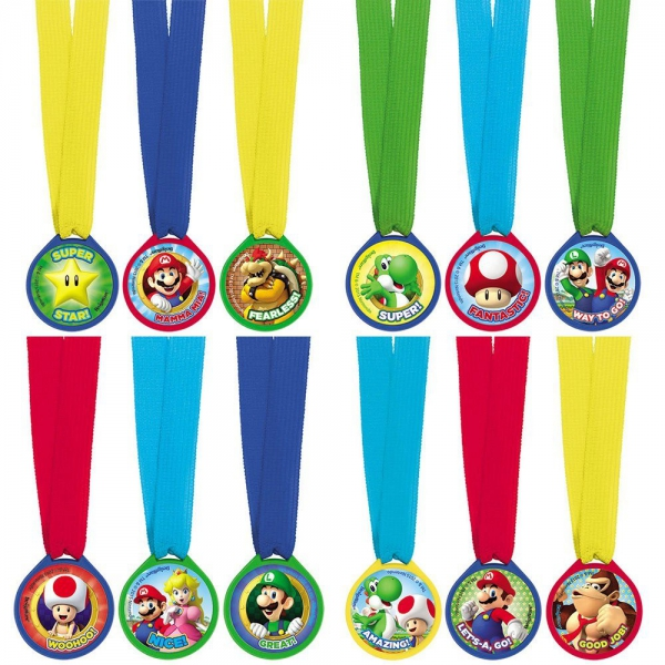 Super Mario 12 Piece Award Medal Party Accessories