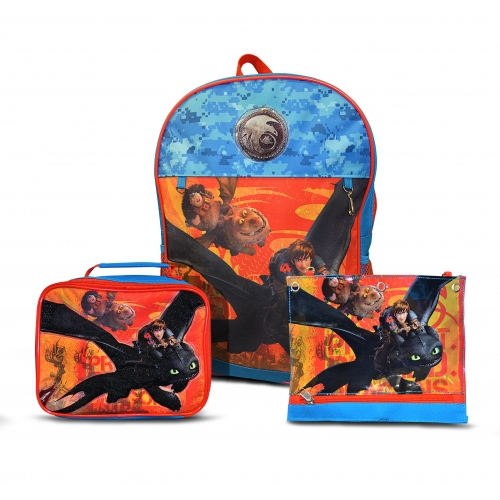 How To Train Your Dragon 'Hiccup & Toothless' 3 Pc School Bag Rucksack Backpack