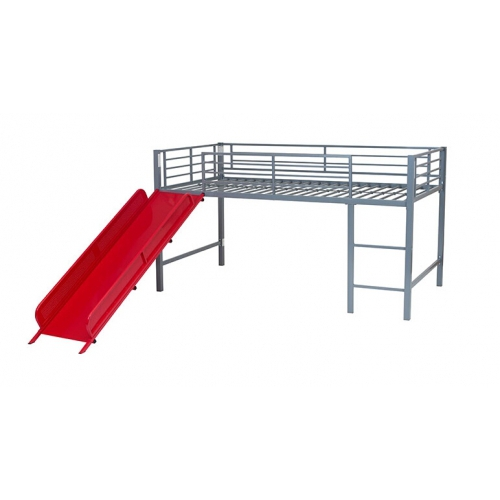 Todd Linens Bunk Midsleeper with Slide Red Single Bed Frame