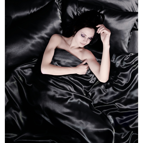 Black 6pc Satin Complete Set Bedding Super King Duvet Cover