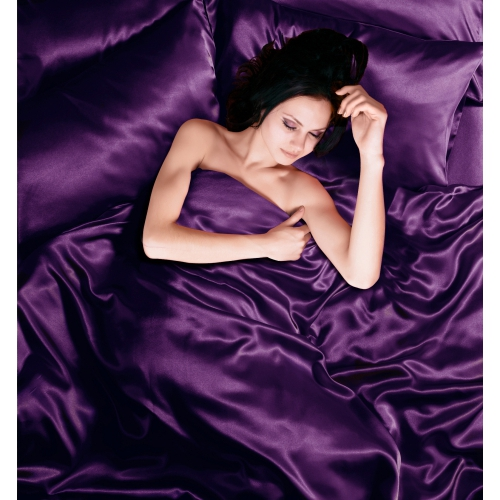 Purple 6pc Satin Complete Set Bedding Super King Duvet Cover