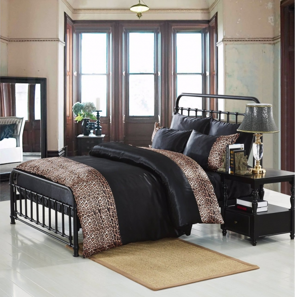 Tiger Black 6 Piece Luxury Complete Set Bedding King Duvet Cover