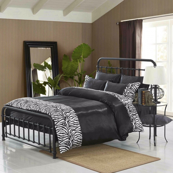 Zebra Black 6 Piece Luxury Complete Set Bedding King Duvet Cover