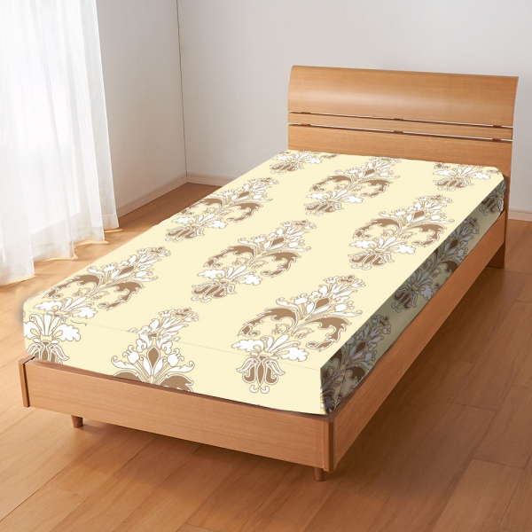 Damask Floral 'Cream' Fitted Sheet Bedding Single Bed Set