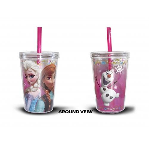 Disney Frozen 'Anna, Elsa, Olaf' Printed Tumbler with Straw