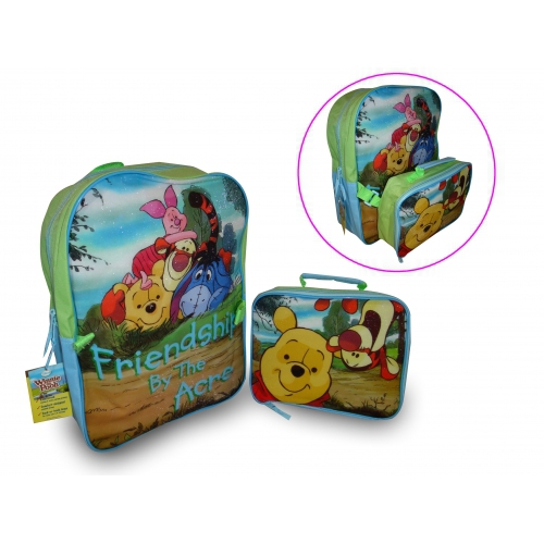 Disney Winnie The Pooh Backpack with Lunch Bag School Rucksack