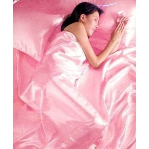 Satin Pink Complete Set Bedding King Duvet Cover