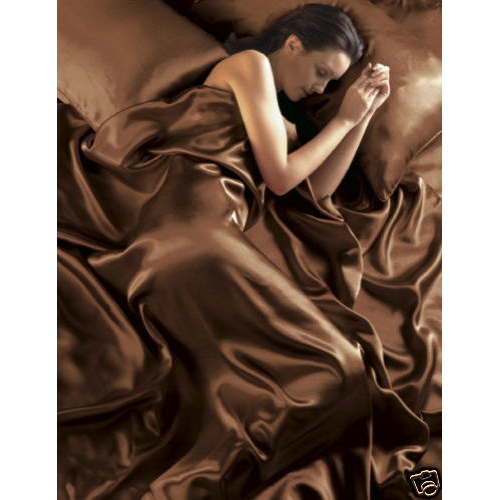Satin Choco Brown Complete Set Bedding King Duvet Cover