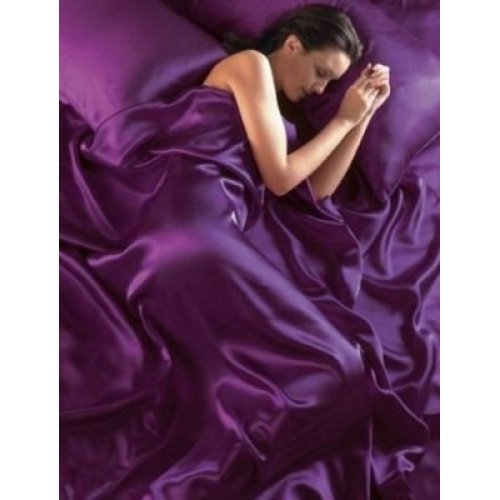Satin Purple Complete Set Bedding King Duvet Cover