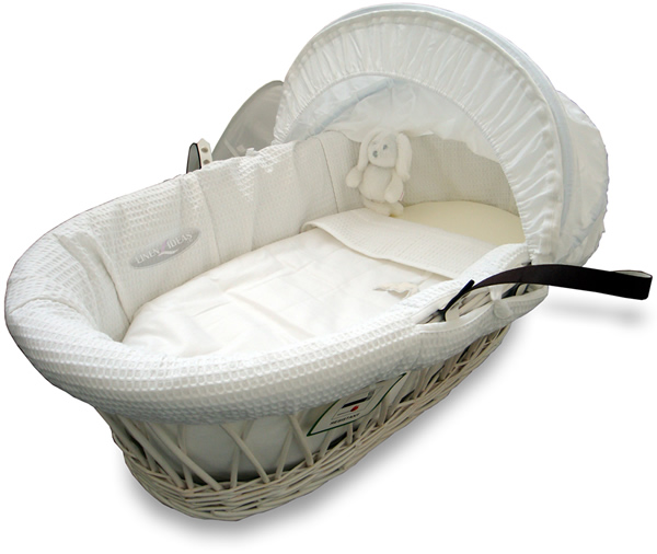 Izziwotnot White Gift Moses Basket on Wicker