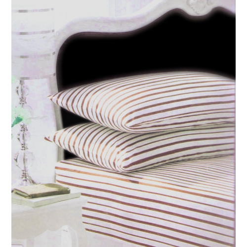 Stripes Cream/chocolate Fitted Sheet Bedding Single Bed Set