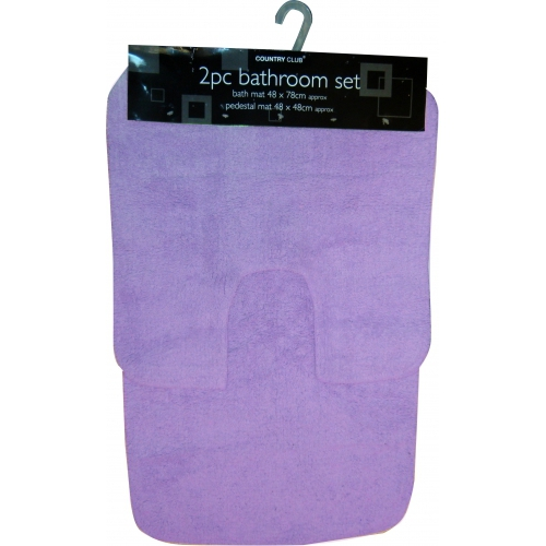 Purple Contemporary Apollo 2pc Bath & Pedestal Mat