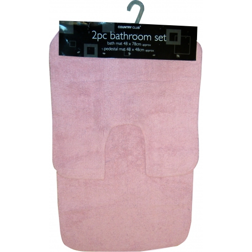 Light Pink Pastel Apollo 2pc Bath & Pedestal Mat