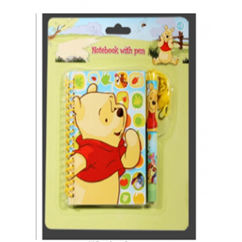 Disney Winnie The Pooh A6 Notebook with Necklace Pen Stationery