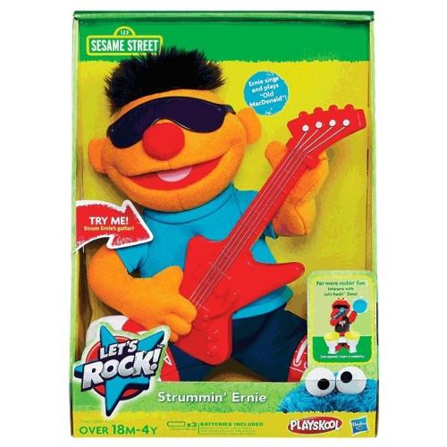 Sesame Street Let'S Rock ' Strummin' Ernie' 10 inch' Plush Soft Toy