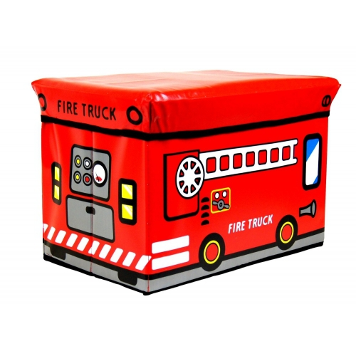 Kids Storage Seat 'Fire Truck' Red Box
