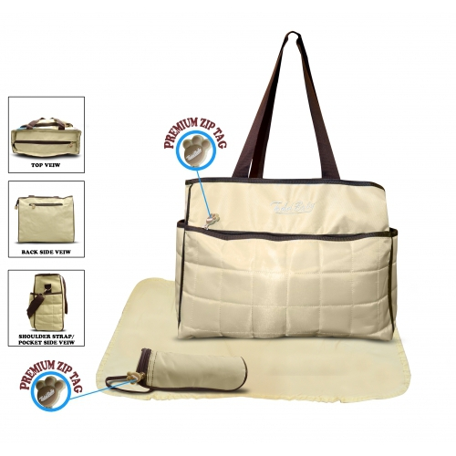 Non Branded Quilted 3pc Cream Nappy Changing Bag Baby Care