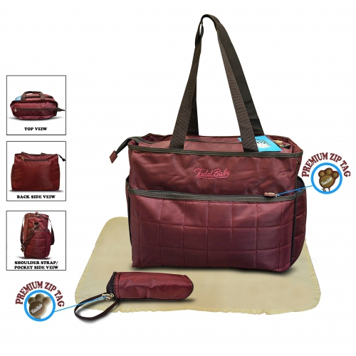 Non Branded Quilted 3pc Maroon Nappy Changing Bag Baby Care
