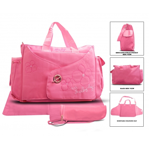 Non Branded Buckle 3 Pc Pink Nappy Changing Bag Baby Care