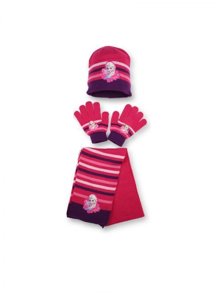 Disney Frozen 'Purple' 3pc Winter Set Hat, Gloves and Scarf Kids Accessories