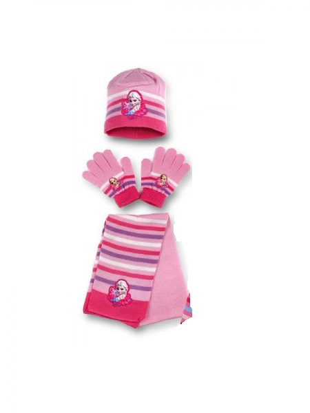 Disney Frozen 'Light Pink' 3pc Winter Set Hat, Gloves and Scarf Kids Accessories