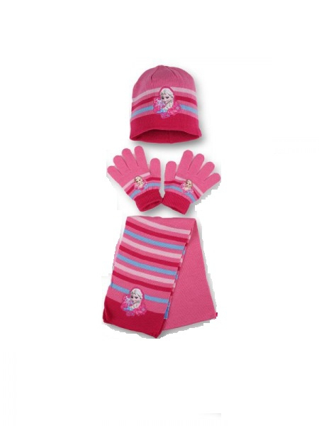 Disney Frozen 'Dark Pink' 3pc Winter Set Hat, Gloves and Scarf Kids Accessories