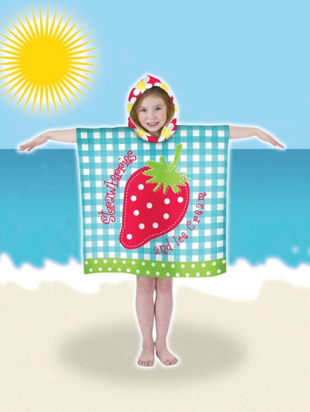 Kids Hooded Beach Bath 'Strawberry' Poncho Towel Pal Accessories