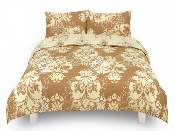 Damask Floral 'Cream' Reversible Rotary King Bed Duvet Quilt Cover Set