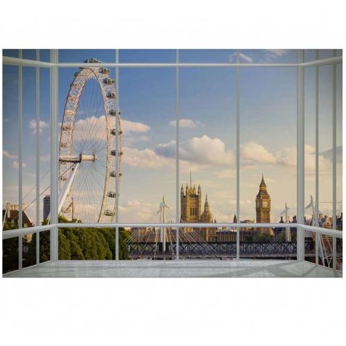 London Skyline Window Wallpaper Mural Wall Paper Decoration