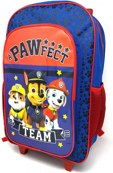 Paw Patrol Blue Luggage Deluxe School Travel Trolley Roller Wheeled Bag