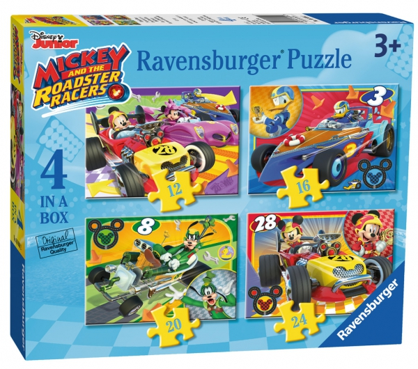 Disney Mickey and The Roadster Racers 12 16 20 24 Piece 4 Jigsaw Puzzle Game
