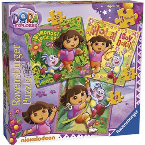 Dora The Explorer 25 36 49 Piece 3 Jigsaw Puzzle Game