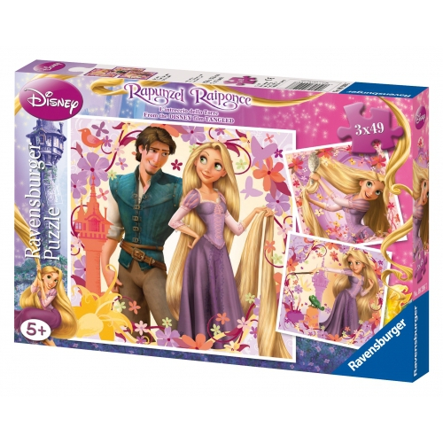 Disney Rapunzel Raiponce 3x49 Piece Jigsaw Puzzle Game