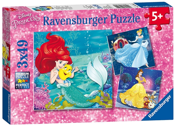 Disney Princess 'Adventure' 3x49 Piece Jigsaw Puzzle Game