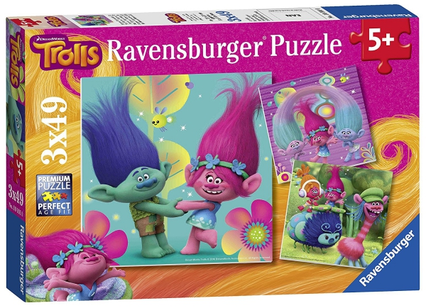 Trolls 3x49 Piece Jigsaw Puzzle Game