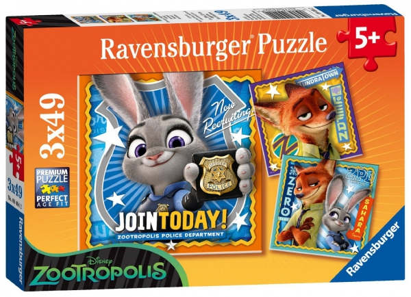 Disney Zootropolis 3x49 Piece Jigsaw Puzzle Game