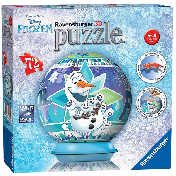 Disney Frozen 'Olaf' S Adventures' 3d 72 Piece Ball Jigsaw Puzzle Game