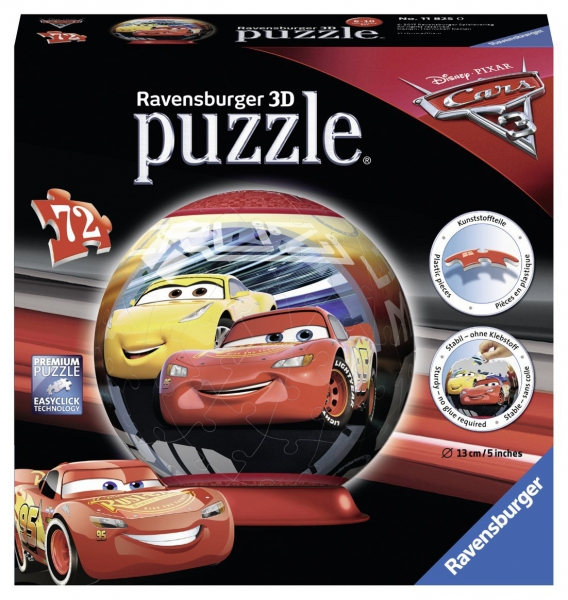 Disney Pixar Cars 3 'Lightning Mcqueen' 3d 72 Piece Ball Jigsaw Puzzle Game
