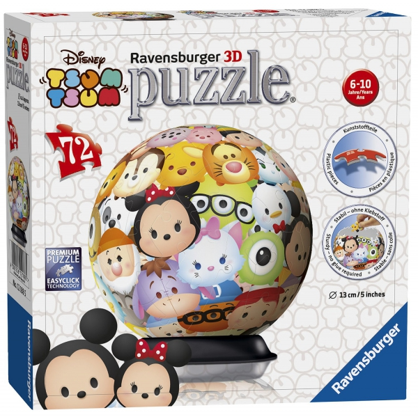 Disney Tsum 72 Piece '5 inch 3d' Ball Jigsaw Puzzle Game