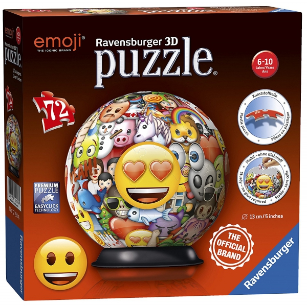 Emoji 'Emoticons' 72 Piece 3d Ball Jigsaw Puzzle Game