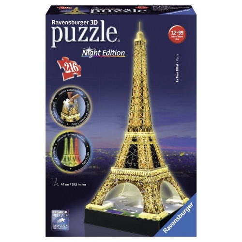 Eiffel Tower Building '3d with Lights' 3d Jigsaw Puzzle Game