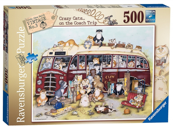 Crazy Cats Vintage Bus 500 Piece Jigsaw Puzzle Game