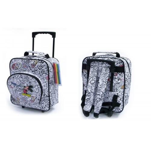 Disney Mickey Mouse 'White' School Travel Trolley Roller Wheeled Bag
