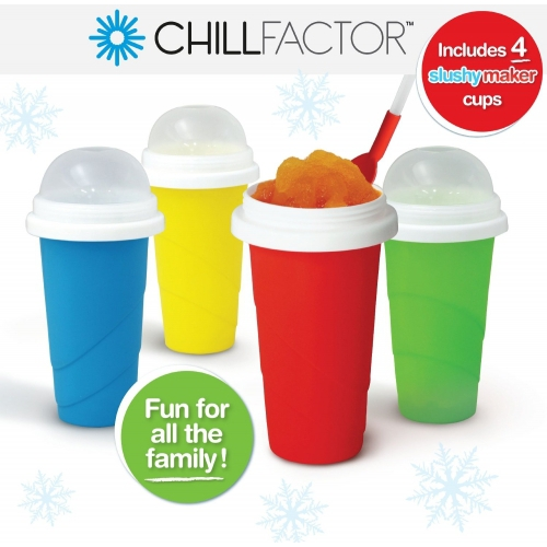 Chill Factor Squeeze Cup Slushy Maker 4 Pk
