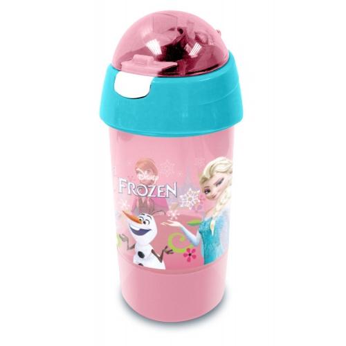 Disney Frozen Elsa & Anna 'Follow Your Heart' Sip N Snack Bottle Pot 2 In 1