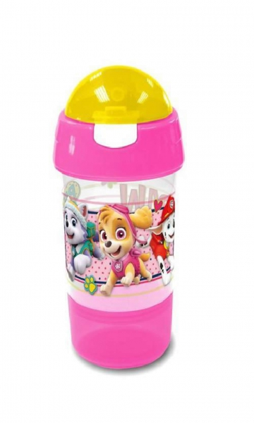 Paw Patrol Sip N Snack Pink Bottle & Pot 2 In 1