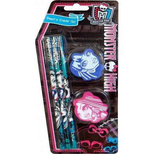 Monster High Set Pencil & Eraser Stationery