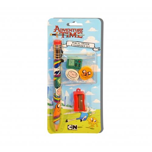 Adventure Time Pencil, Eraser & Sharpener Set Stationery
