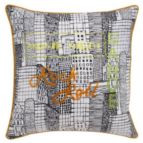Catherine Lansfield Times Square Multi Embroidered Cushion Cover