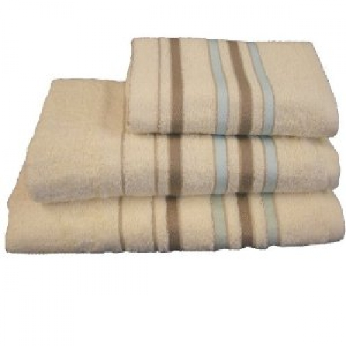 Towel Catherine Lansfield Java Stripe 450gsm Natural Hand